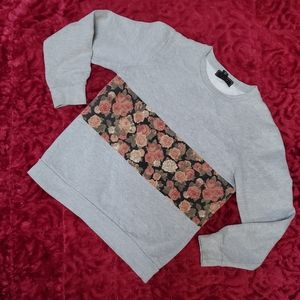 GRAY SWEATSHIRT WITH FLORAL STRIPE